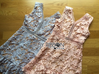 Lady Ribbon Korea Dressเสื้อผ้า LR15010816 &#x1F380 Lady Ribbon's Made &#x1F380 Lady Josephine Pastel Guipure Lace Cocktail Mini Dress มินิเดรสผ้าลูกไม้