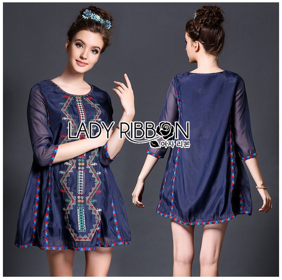 Lady Ribbon Korea Dress &#x1F380 Lady Ribbon's Made &#x1F380 Lady Margherita Mixed Tribal Embroidered Cotton Mini Dress มินิเดรส
