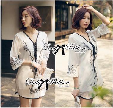 Lady Ribbon Korea Dressเชิ้ต LR19270616