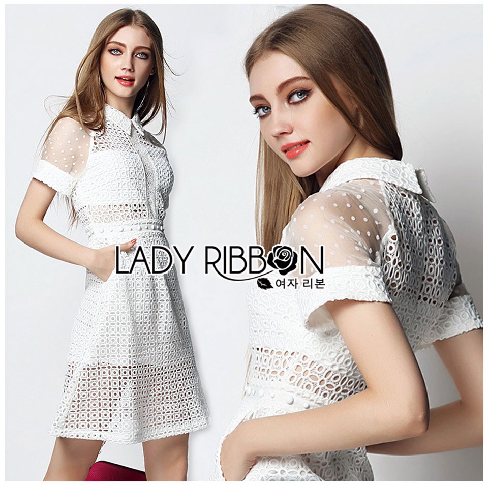 Lady Ribbon's Made &#x1F380 Lady Taylor Sweet Preppy Collared White Korea Lace Dress
