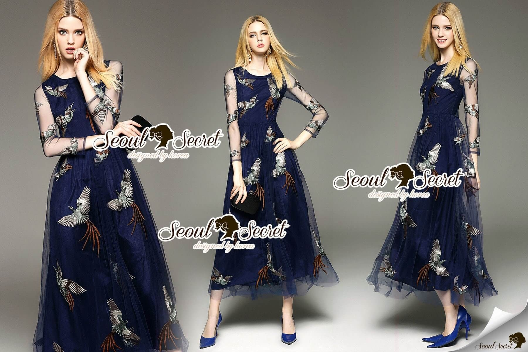 Seoul Secret Say's... Netty Bird Stickly Maxi Dress