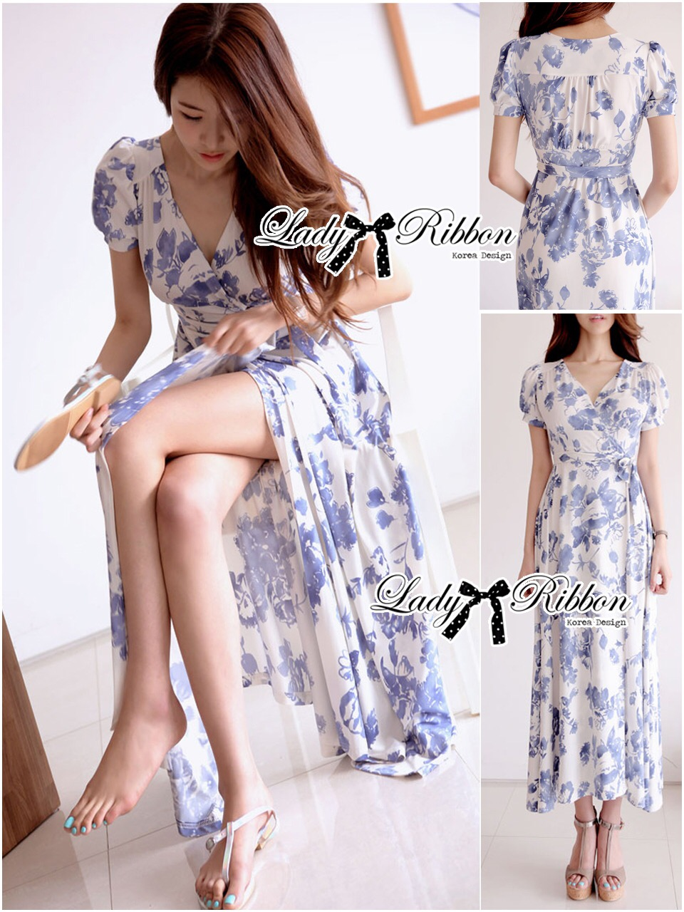 Lady Ribbon's Made &#x1F380 Lady Meryl Sweet Sunshine Floral Print Maxi Wrap Dress เ