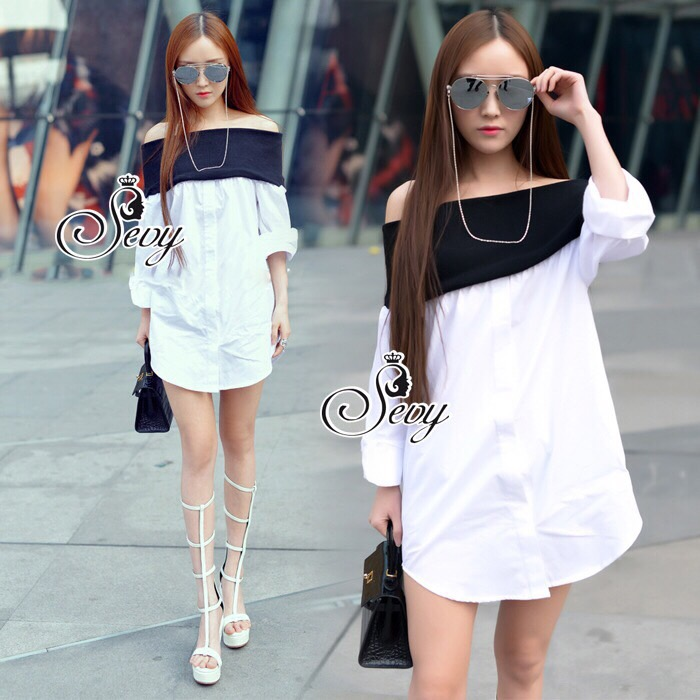 Lady Ribbon Sevy SV06290516 &#x1F389Sevy Off Shoulder Long Sleeve Shirt