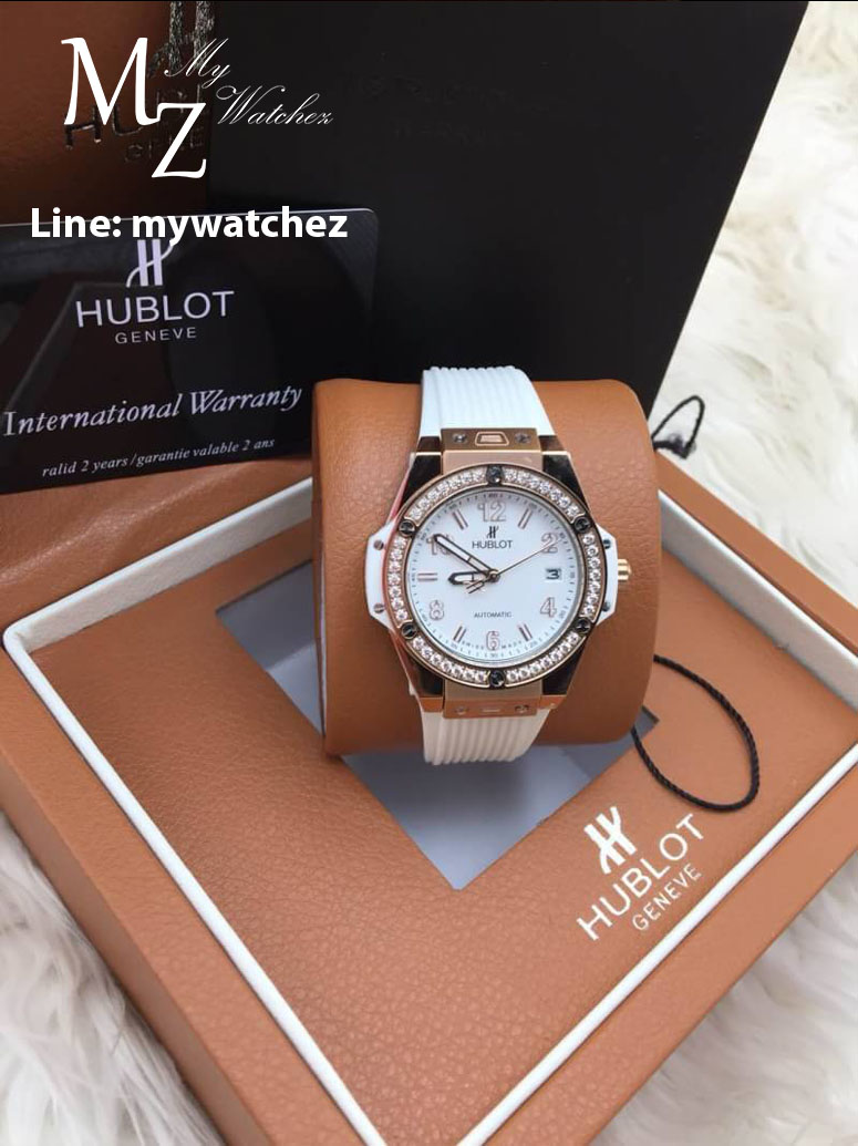 Hublot Big Bang One Click King Gold Jewelry Lady - White Dial