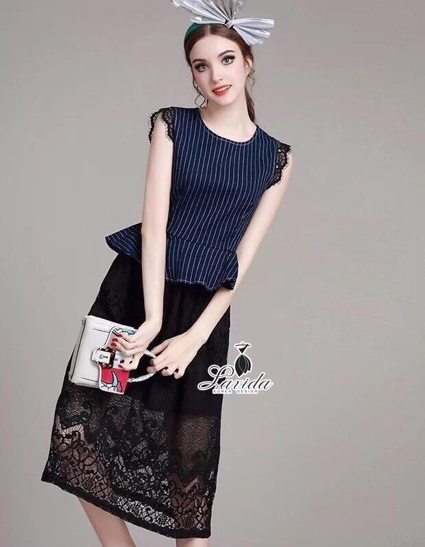 Korea Design By brand cliona Lavida striped denim sleeveless premium black lace maxi dress code1662 แมกซี่เดรสสุดเก๋