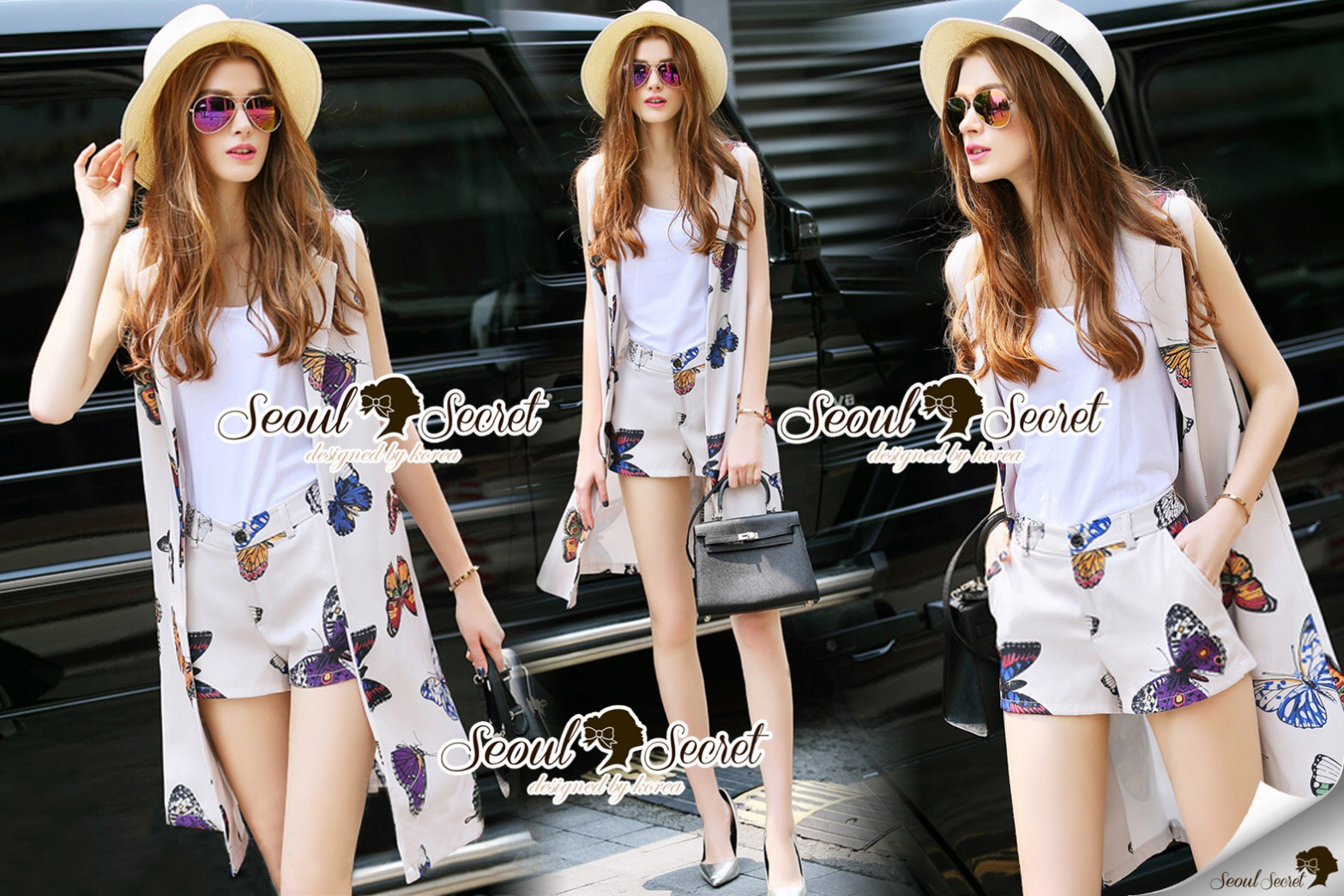Lady Ribbon Closet Design Seoul Secret Say's... Chill Out Color Butterfly Outer Chic Set