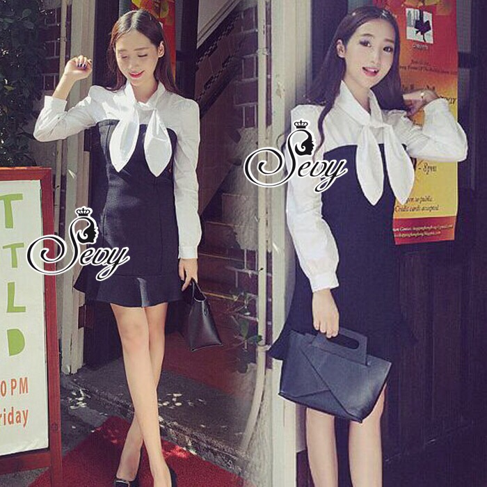 Lady Ribbon Korea Brand SV13060616 Cool Item-Restock &#x1F389Sevy Ribbon Neck Long Sleeve Contrast Bust Mini Dress