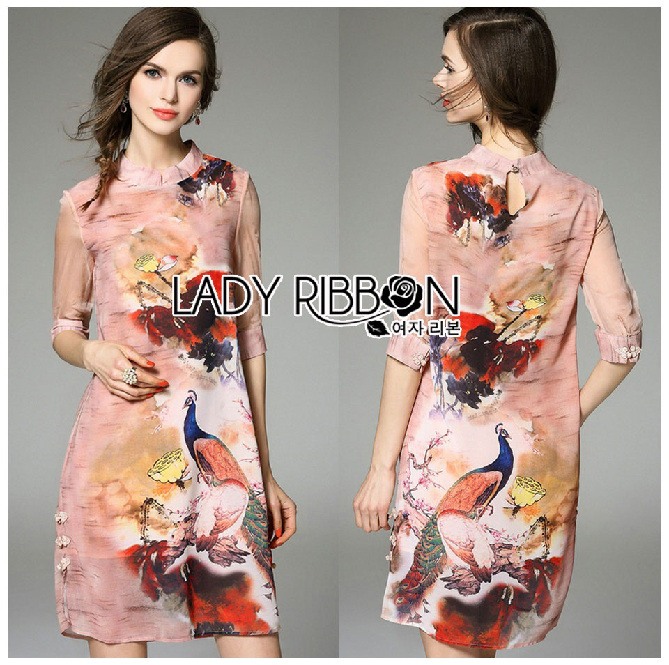 &#x1F380 Lady Ribbon's Made &#x1F380 Lady Aerin Eastern Chinese Printed High-Neck Dress