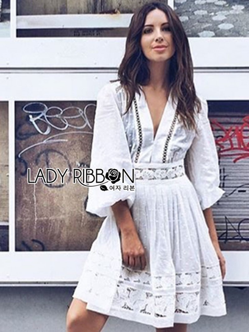 เสื้อผ้าแฟชั่นเกาหลี Lady Ribbon's Made Lady Grace Polkadot Embroidered White Chiffon Mini Dress