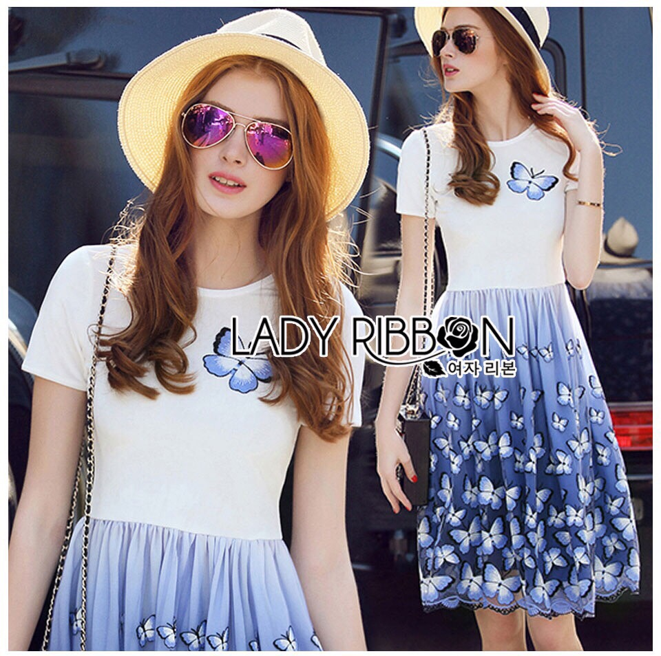 Lady Ribbon Dress LR06300516 &#x1F380 Lady Ribbon's Made &#x1F380 Lady Nadia Pretty Casual Blue Butterflies Embroidered Dress เดรส