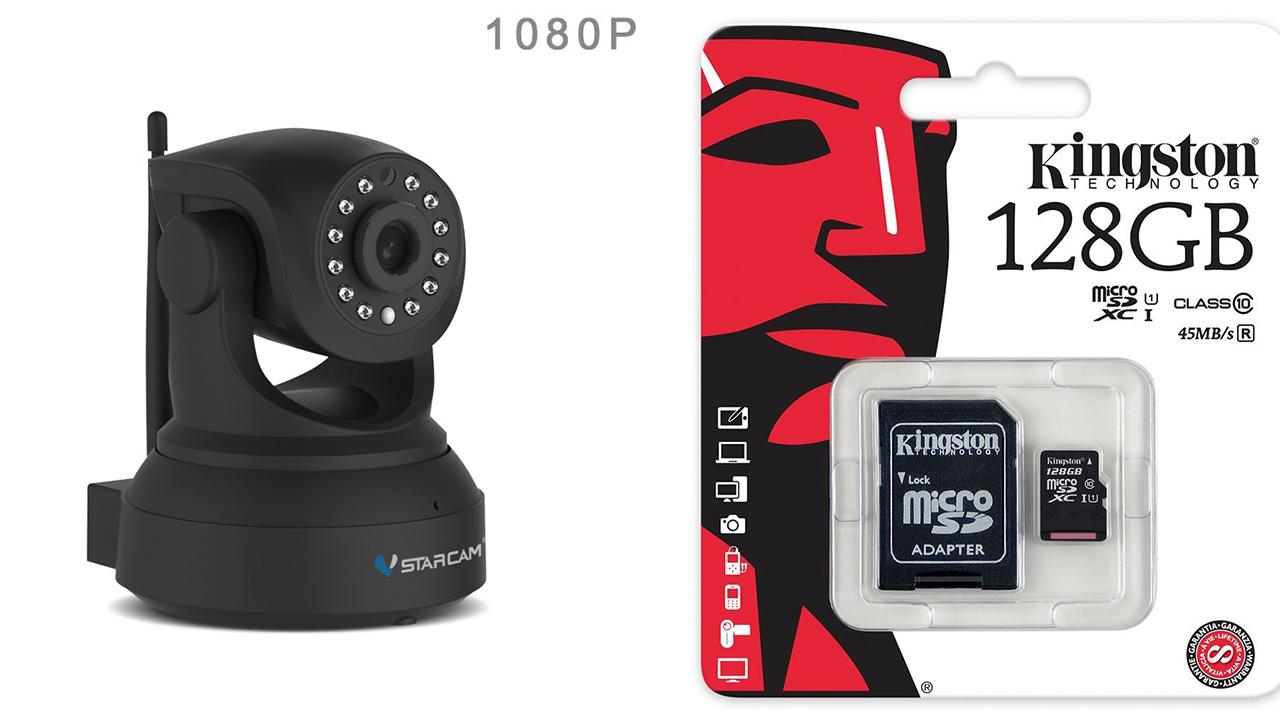 กล้องวงจรปิดไร้สายดูผ่านเน็ต VStarCam รุ่น C82R 128GB 2ล้าน Pixel 1080P แท้ สีดำด้าน สวยมากๆ