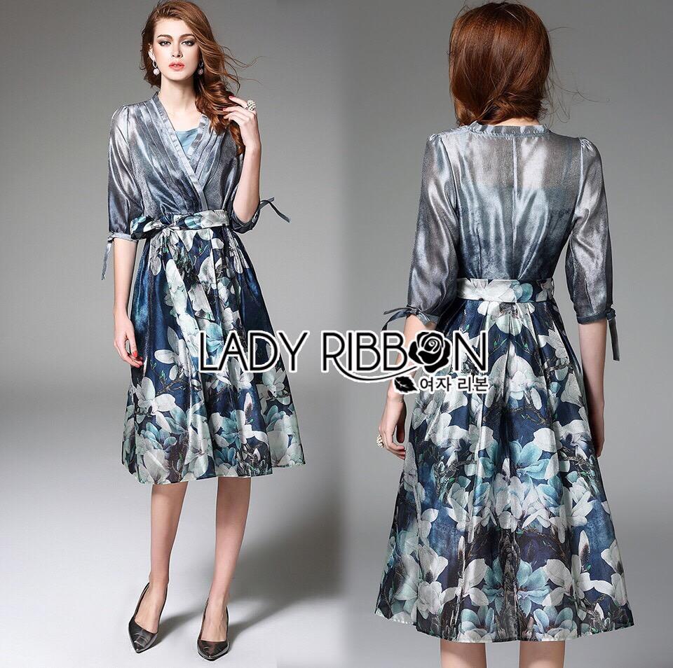 Lady Ribbon Korea LR08260516 &#x1F380 Lady Ribbon's Made &#x1F380 Lady Danielle Feminine Elegant Floral Printed Polyester Dress