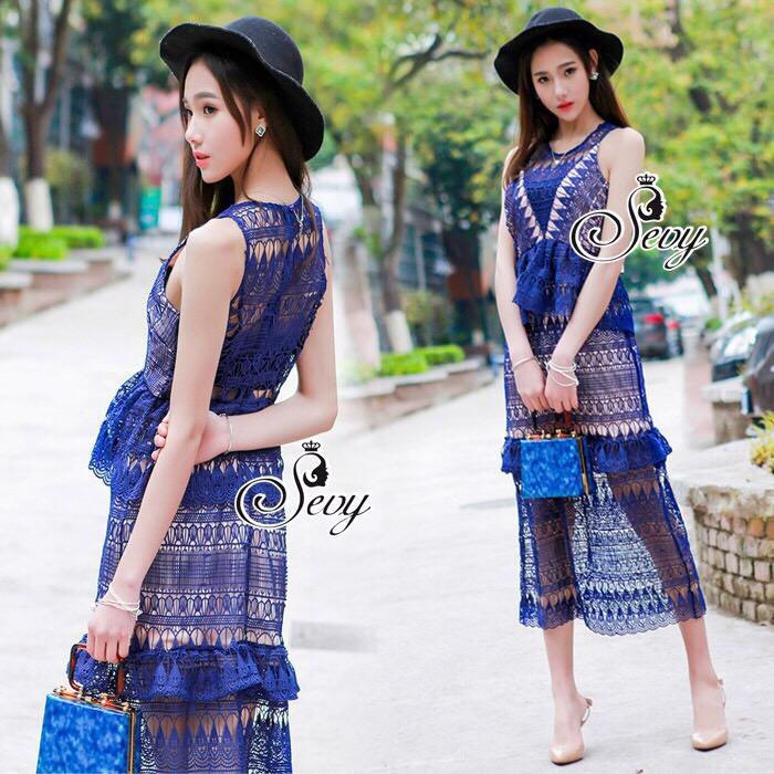 Lady Ribbon Korea Brand SV14060616 &#x1F389Sevy SP V-Neck Elegant Sleeveless Vintage Lace Dress