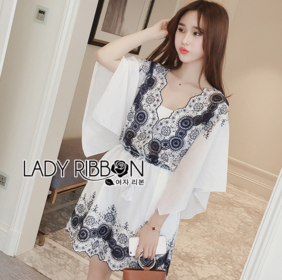 Lady Ribbon Kiorea Mini Dress LR02060616 &#x1F380 Lady Ribbon's Made &#x1F380 Lady Paulie Floral Embroidered Cotton Kaftan Playsuit