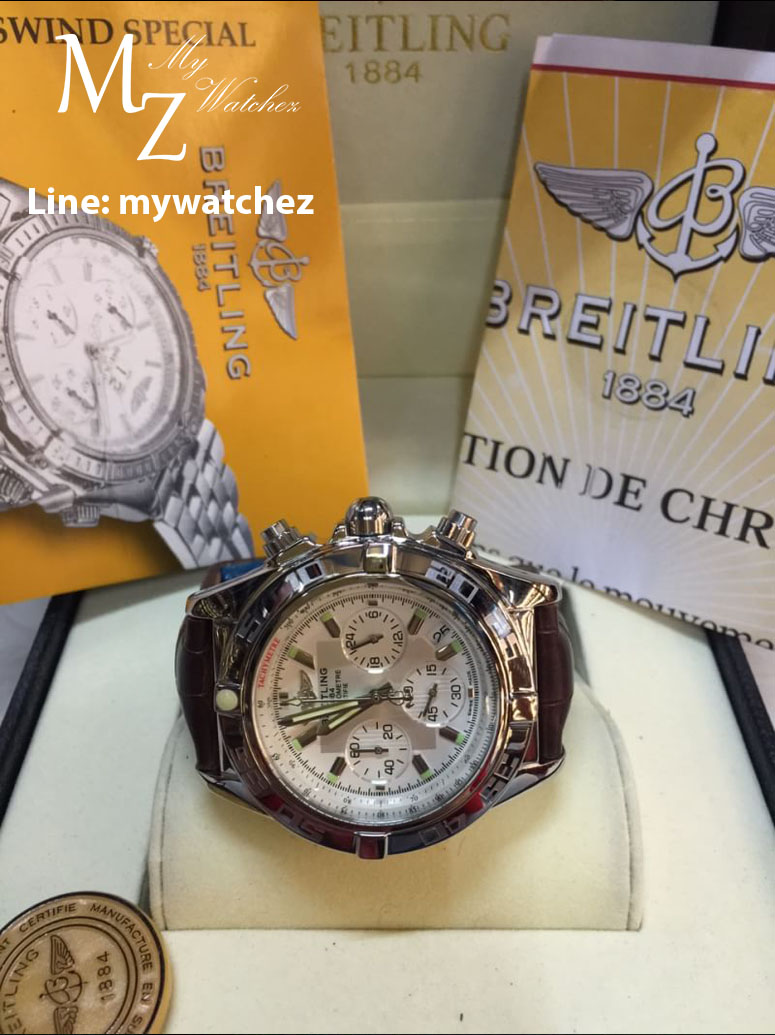 Breitling 1884 Chronomat White Dial and Brown Leather Strap Ref # AB0110