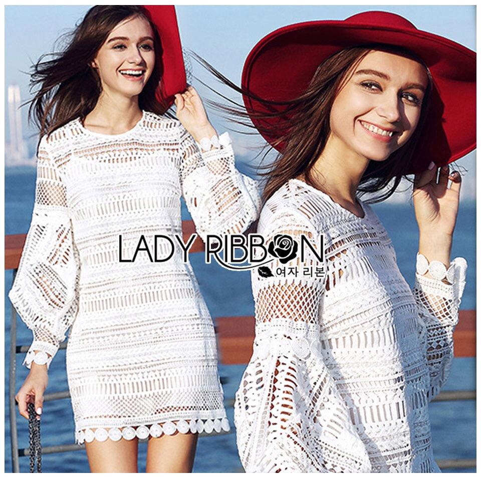 Lady Ribbon's Made &#x1F380 Lady Korea Marion Classy Chic Mixed White Lace Dress Korea