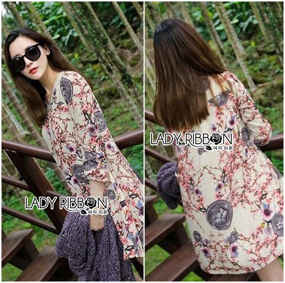 Lady Ribbon Dress Korea Printed Dress เดรส