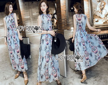 Lady Ribbon Korea Chiffon Sleeveless Maxi Dress