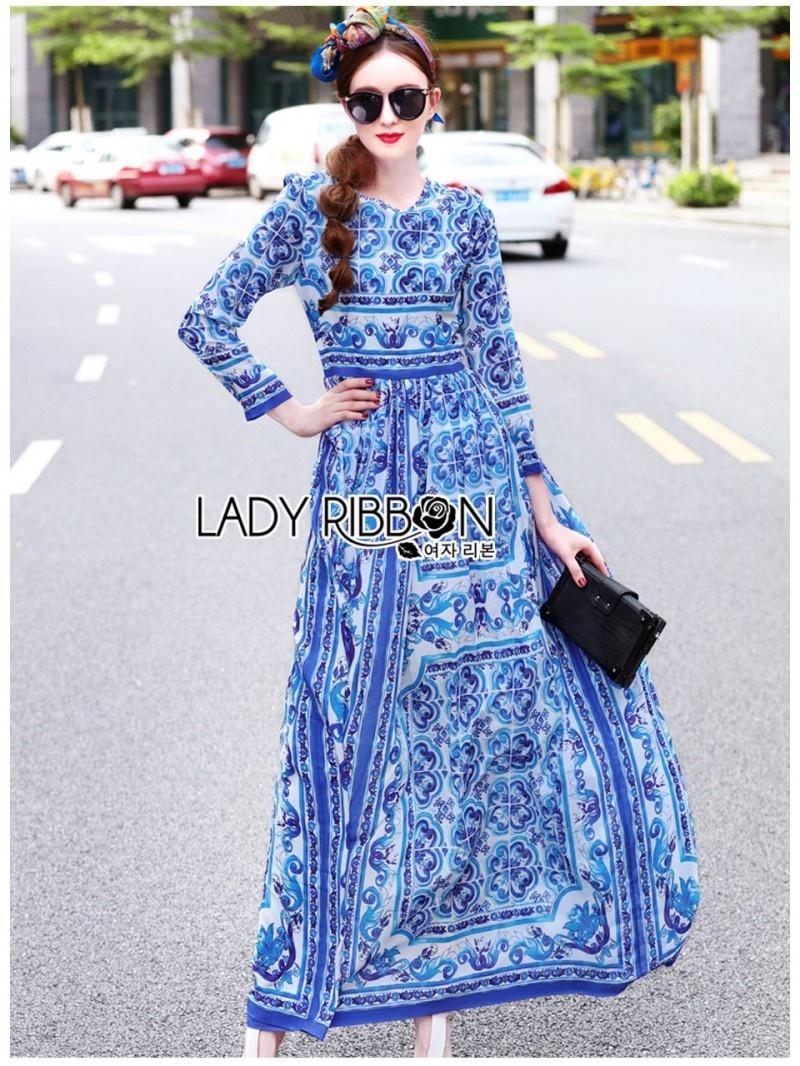 เสื้อผ้าแฟชั่นเกาหลี Lady Ribbon Thailand Lady Ribbon's Made Lady Yves Italian Dream Blue & White Printed Maxi Dress