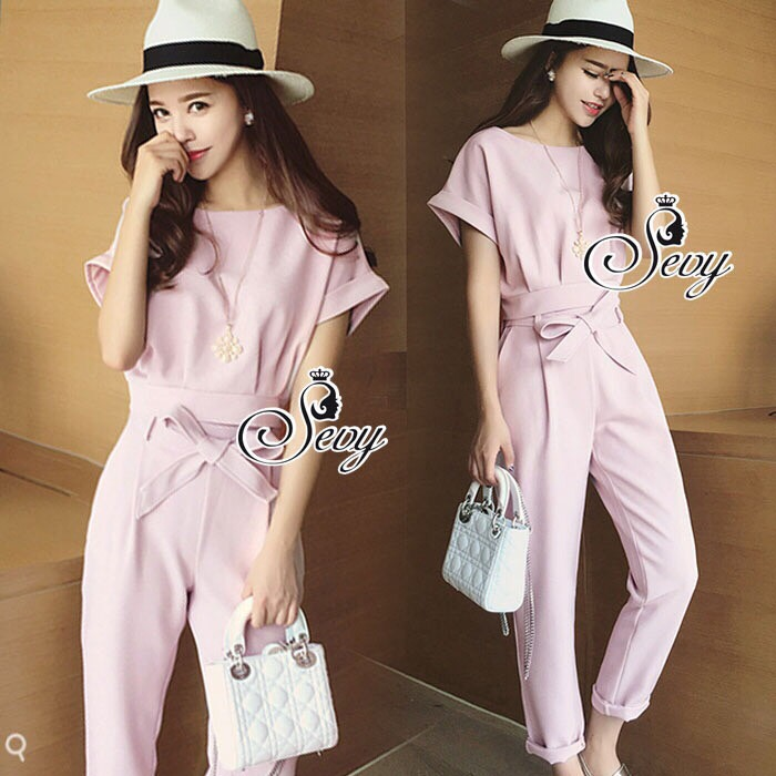Brand Sevy Two Pieces Of Crop Blouse With Pants Suit Sets
