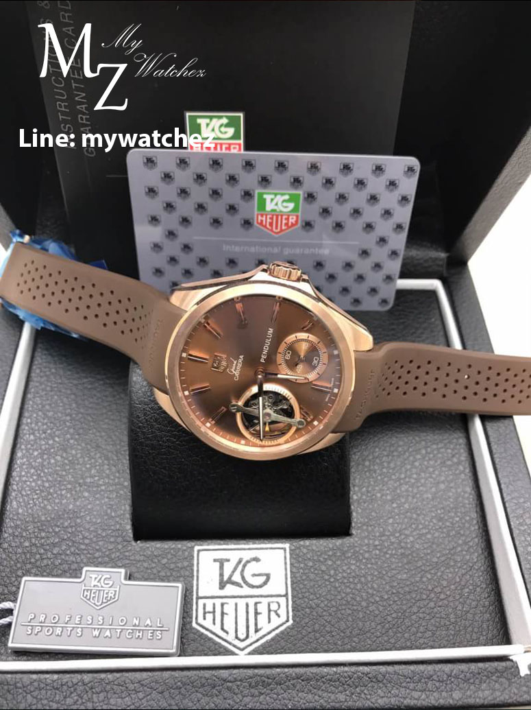 Tag Heuer Grand Carrera Pendulum - Rose Gold and Brown Strap