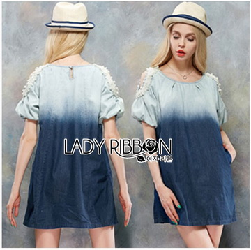 Lady Ribbon เสื้อผ้าเกาหลี LR10110716 &#x1F380 Lady Ribbon's Made &#x1F380 Lady Marina Cut-Out Pearl Embroidered Ombre Denim Dress เดรสผ้าเดนิม