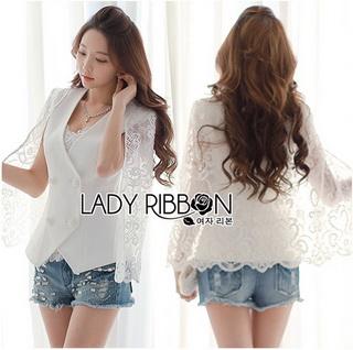 Lady Ribbon Korea Closet LR14010816 &#x1F380 Lady Ribbon's Made &#x1F380 Lady Maria Elegant Double-Breast White Lace Jacket เสื้อคลุมแจ๊คเก็ต