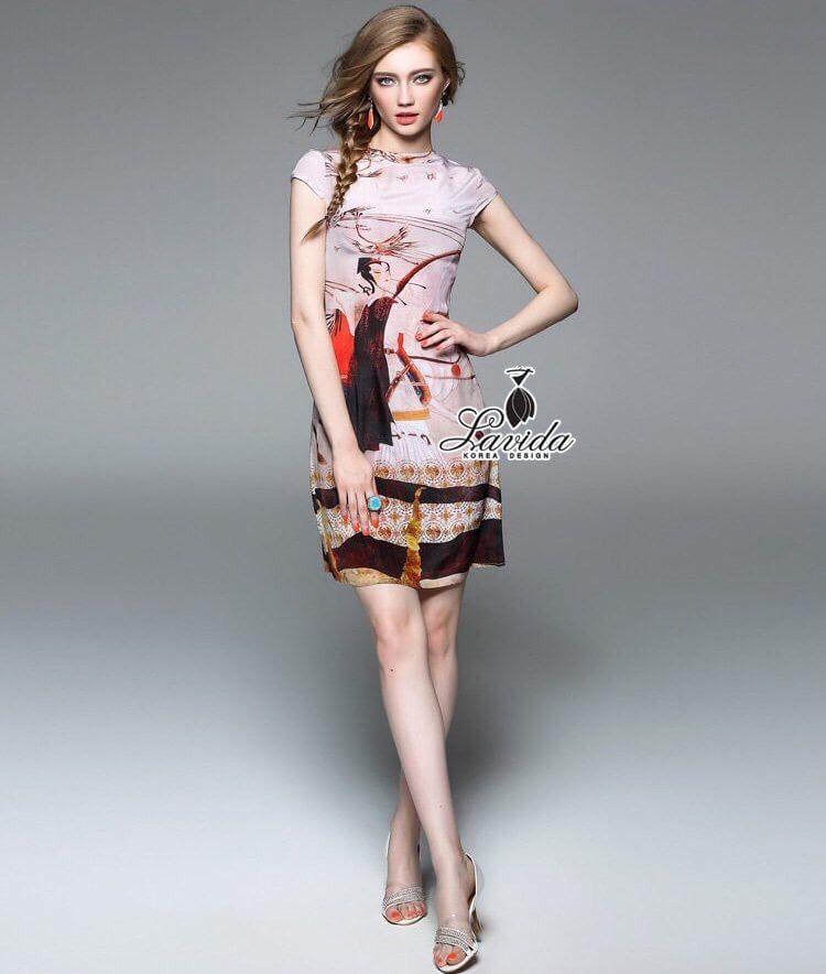 Korea Design By Lavida Black and white striped lotus leaf sleeve dress code1743