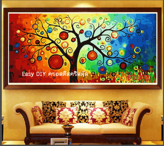 เซ็ตอุปกรณ์งานฝีมือ diy ครอสติสคริสตัลรูปต้นไม้ศิลป์สีสดสวย