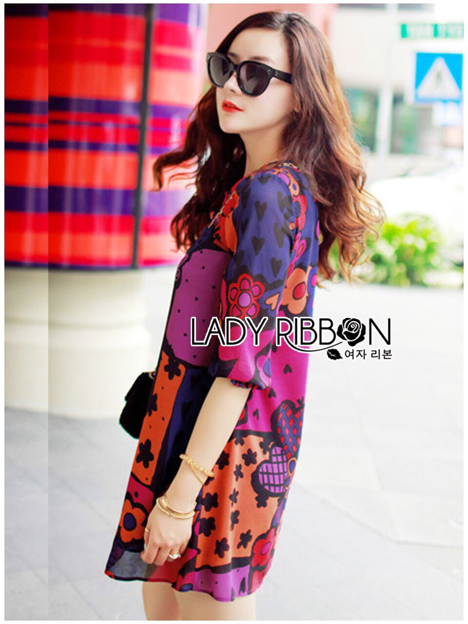 Lady Ribbon Korea Mini Dress LR12130616 &#x1F380 Lady Ribbon's Made &#x1F380 Lady Jennifer Summery Vivid Color Graphic Printed Mini Dress