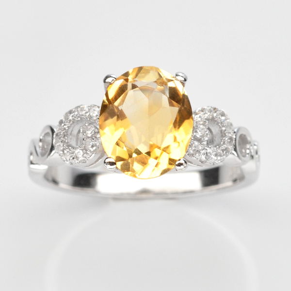 แหวนพลอยแท้แหวนเงิน925 พลอย ซิทริน ประดับเพชร CZ ชุบทองคำขาว