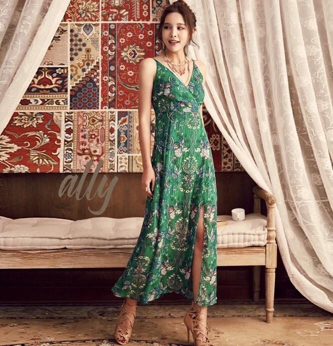 เสื้อผ้าแฟชั่นเกาหลี Lady Ribbon Thailand Normal Ally Present Summer print dress