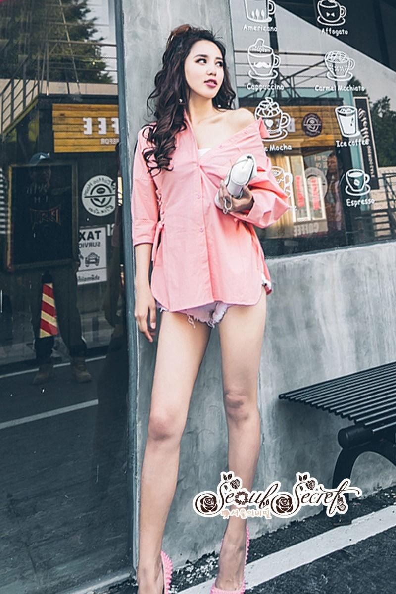 เสื้อผ้าแฟชั่นเกาหลี Lady Ribbon Thailand Seoul Secret Say'...T-Shirt Cotton Pink Peat Tie Rib Cage Chic Chic