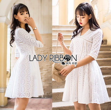 Lady Ribbon Korea เสื้อผ้าเกาหลี ของแท้พร้อมส่ง Lady Ribbon Dress LR18250716 &#x1F380 Lady Ribbon's Made &#x1F380 Lady Catrina Classic White Laser-Cut and Embroidered Cotton Dress