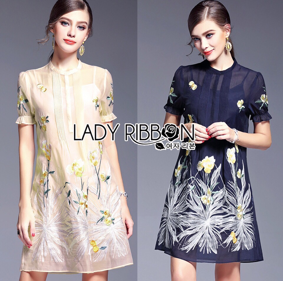 Lady Ribbon Korea Dress LR04160616 &#x1F380 Lady Ribbon's Made &#x1F380 Lady Rita Casual Feminine Flower Embroidered Silk Cotton Dress