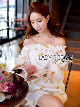 Lady Ribbon Korea Mini Dress LR04270616 &#x1F380 Lady Ribbon's Made &#x1F380Lady Ashley Emy Summery Off-Shoulder Gold Feather Embroidered Organza Dress เ