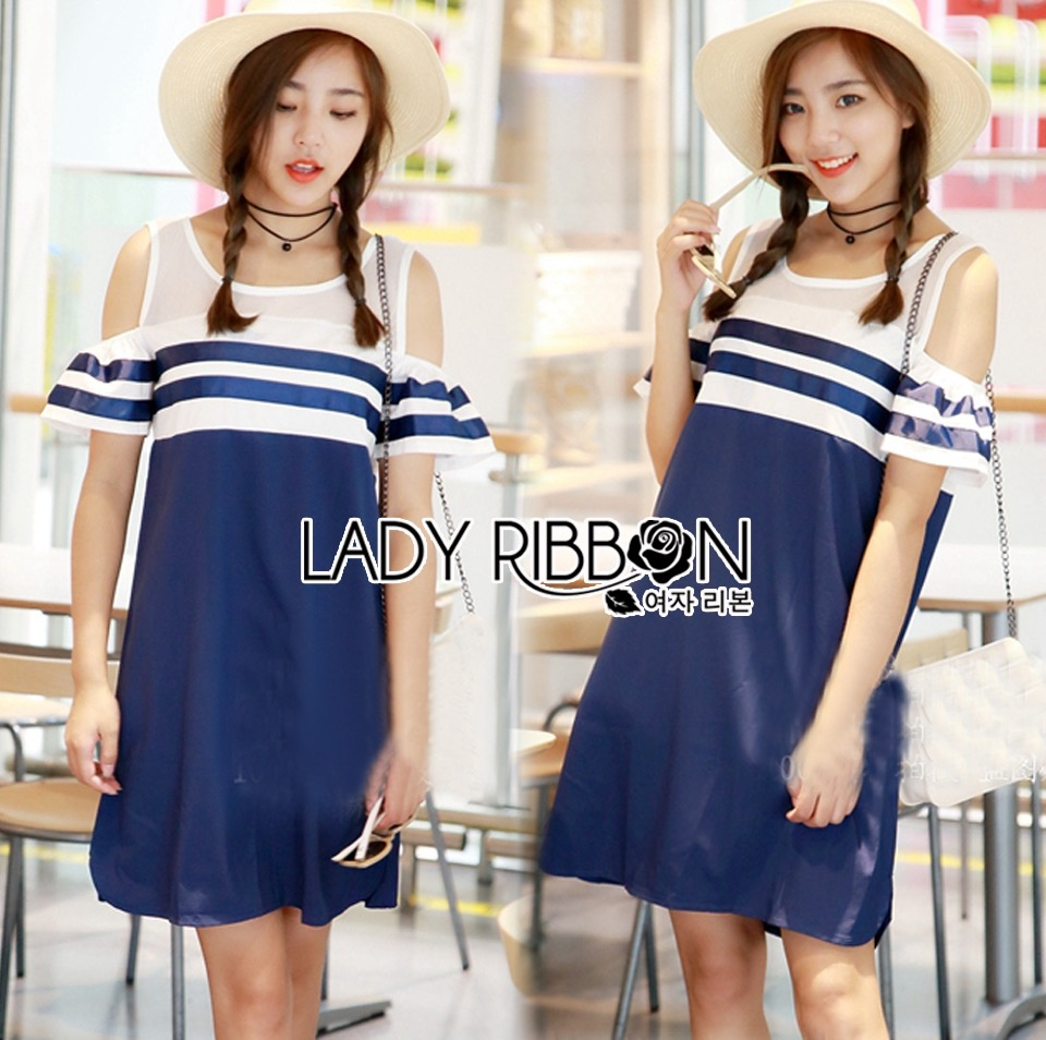 Lady Ribbon Dress LR14120516 &#x1F380 Lady Ribbon's Made &#x1F380 Lady Isla Glam Chic Navy Blue Striped Dress