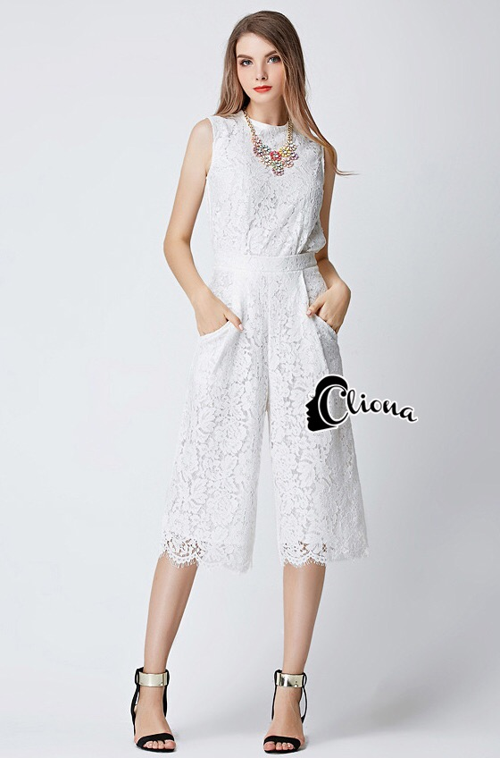 brand Cliona Made' Luxury Lace Tri-Colors Jumpsuite
