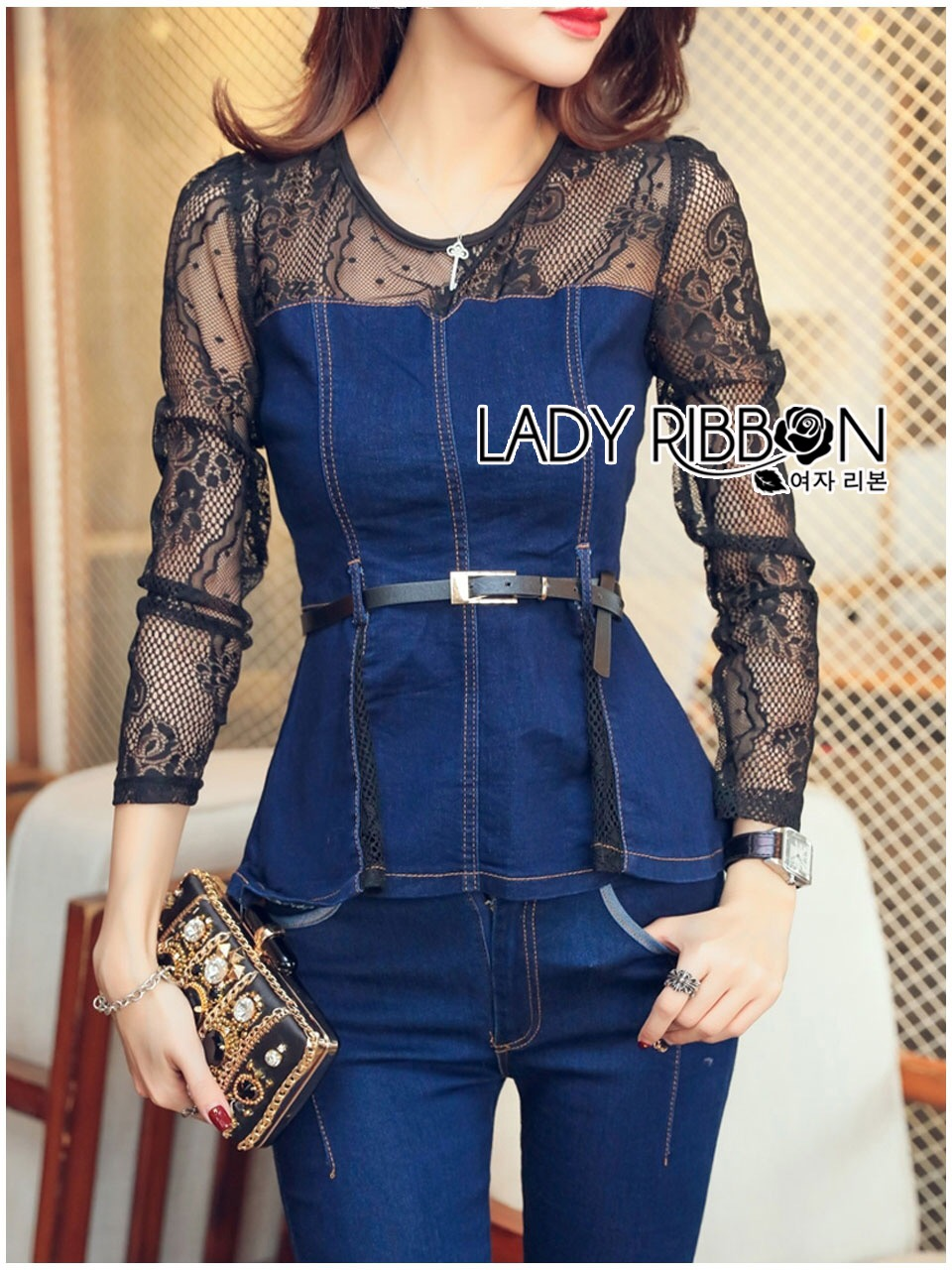 Lady Ribbon Korea Dress LR03060616 &#x1F380 Lady Ribbon's Made &#x1F380 Lady Kimberley Smart and Sexy Black Lace with Denim Set เ