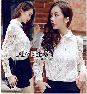 Shirt in White เชิ้ตขาวตกแต่งผ้าตาข่าย