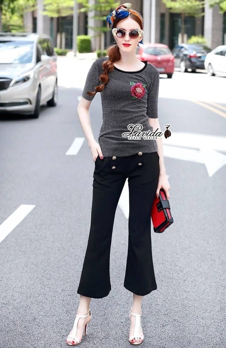 เสื้อผ้าแฟชั่นเกาหลี Lady Ribbon Thailand Korea Design By Lavida Fashionable flower embroidery button decoration set