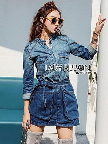 Lady Sarah Street Chic Denim Shirt Dress
