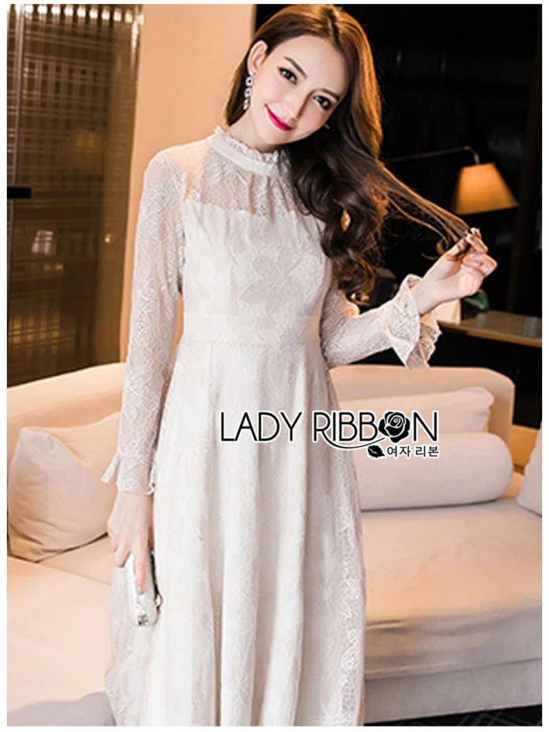 เสื้อผ้าแฟชั่นเกาหลี Lady Ribbon Thailand Lady Ribbon's Made Lady Pat Sweet and Classic Off-White Lace Dress