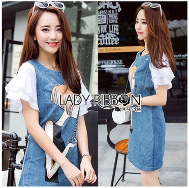 Lady Ribbon Korea Denim Dress Korea LR11300616 &#x1F380 Lady Ribbon's Made &#x1F380 Lady Lucie Playful Ruffle-Sleeve Printed Denim Dress