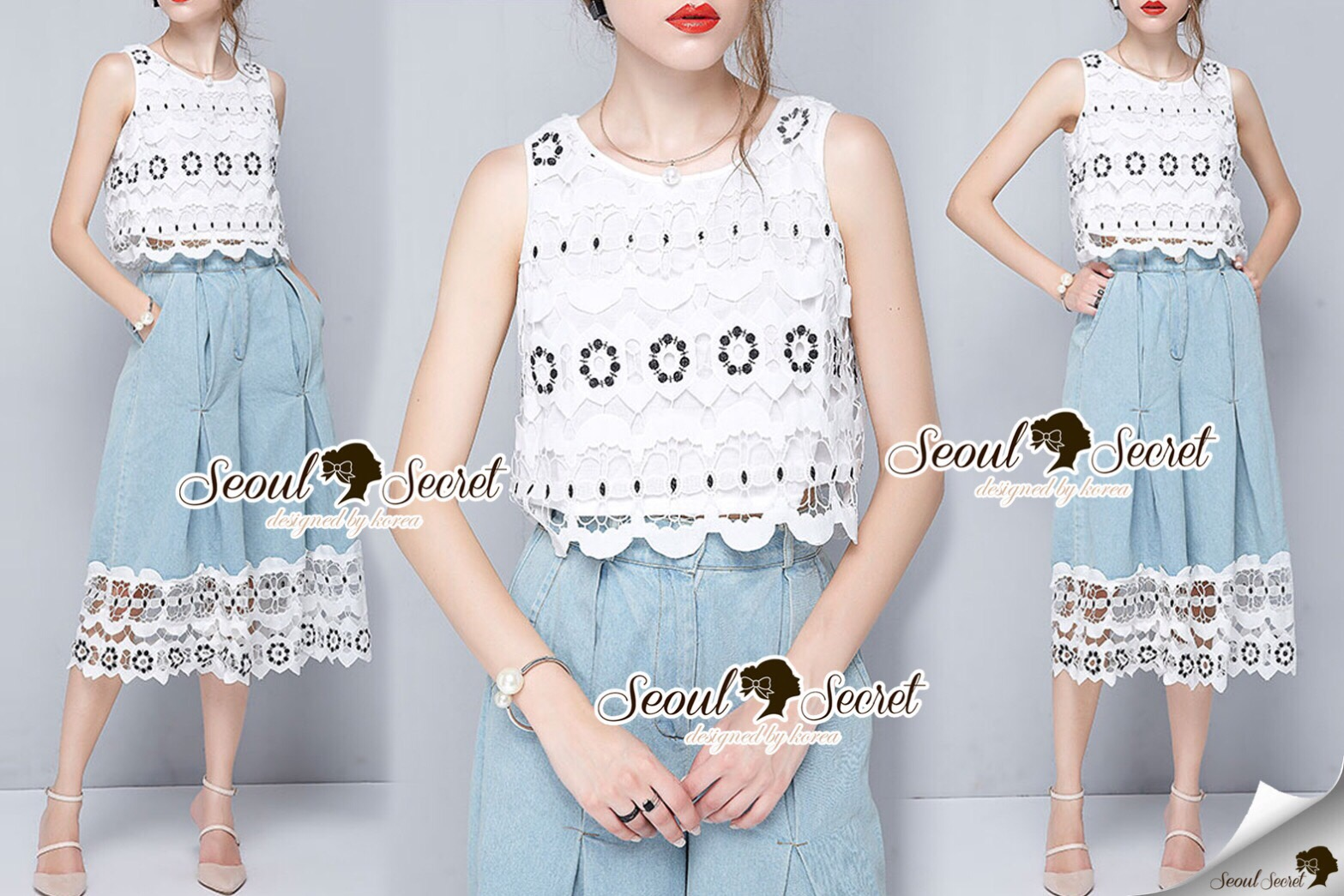 Lady Ribbon Korea Brand SS07300516 Seoul Secret Say's... LollyPop Tail Lace Chic Set
