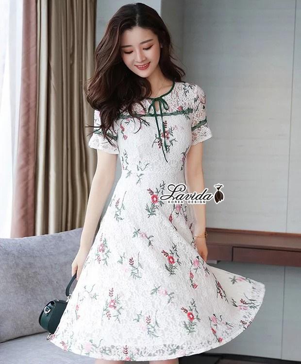 เสื้อผ้าแฟชั่นเกาหลี Lady Ribbon Thailand Korea Design By Lavida Floral lace short sleeve dress
