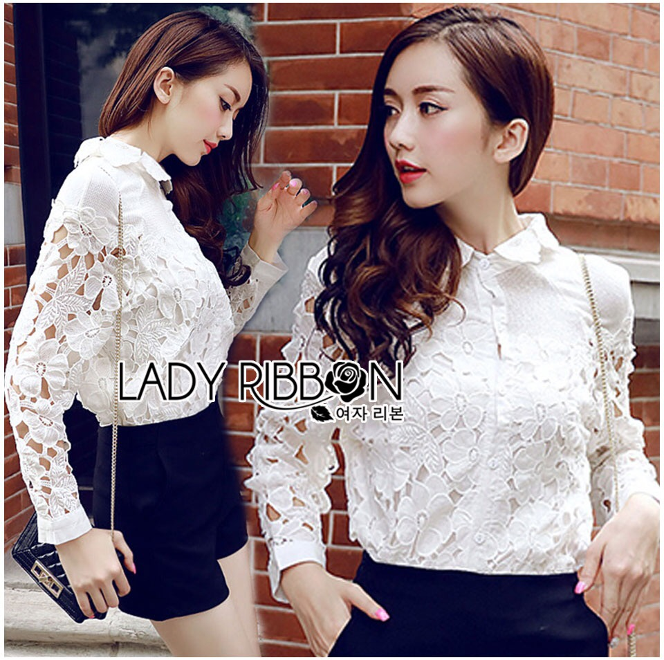 &#x1F380 Lady Ribbon's Made &#x1F380 Lady Blaire Floral Embroidered Lace Shirt in White เ