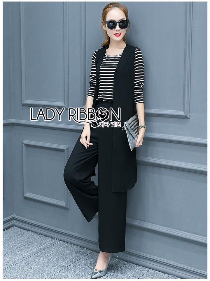 เสื้อผ้าแฟชั่นเกาหลี Lady Ribbon Thailand Lady Melissa Minimal Chic Black & White 3 Pieces Set