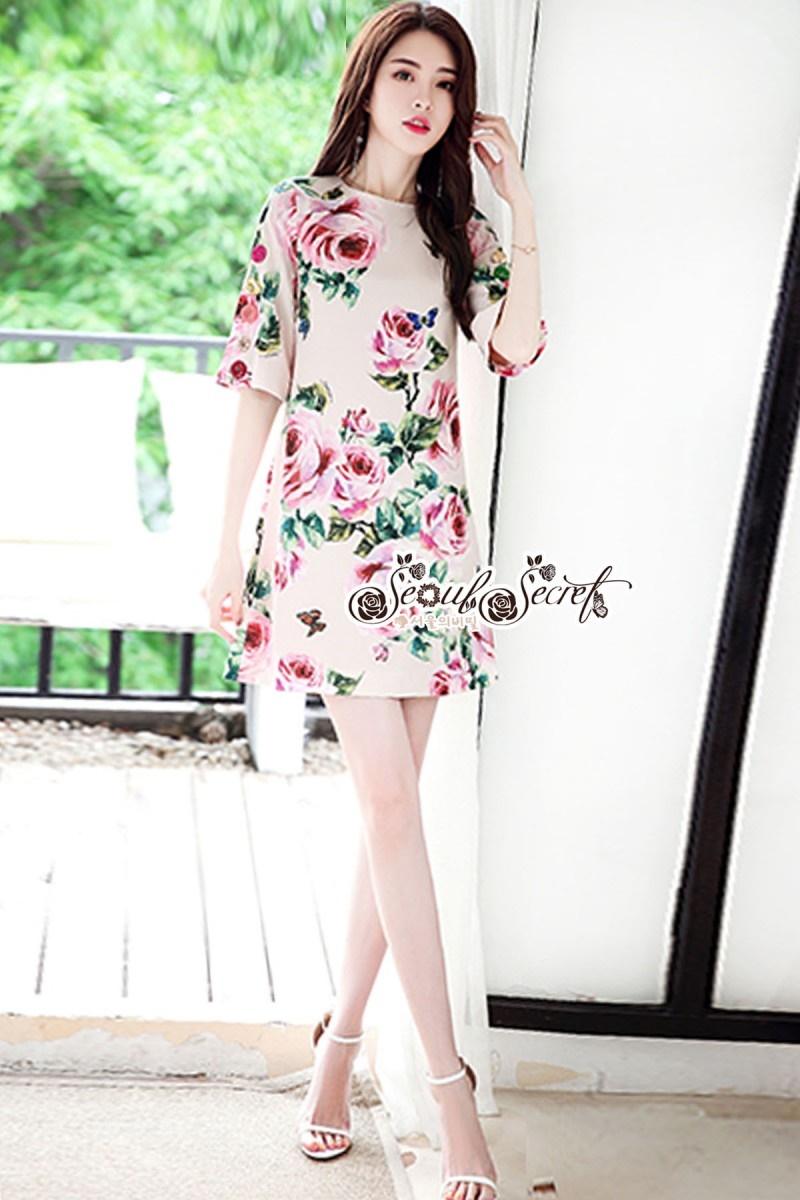 เสื้อผ้าแฟชั่นเกาหลี Lady Ribbon Thailand Seoul Secret Say'...Crepe Dress Pink Rose Print Vintage Style