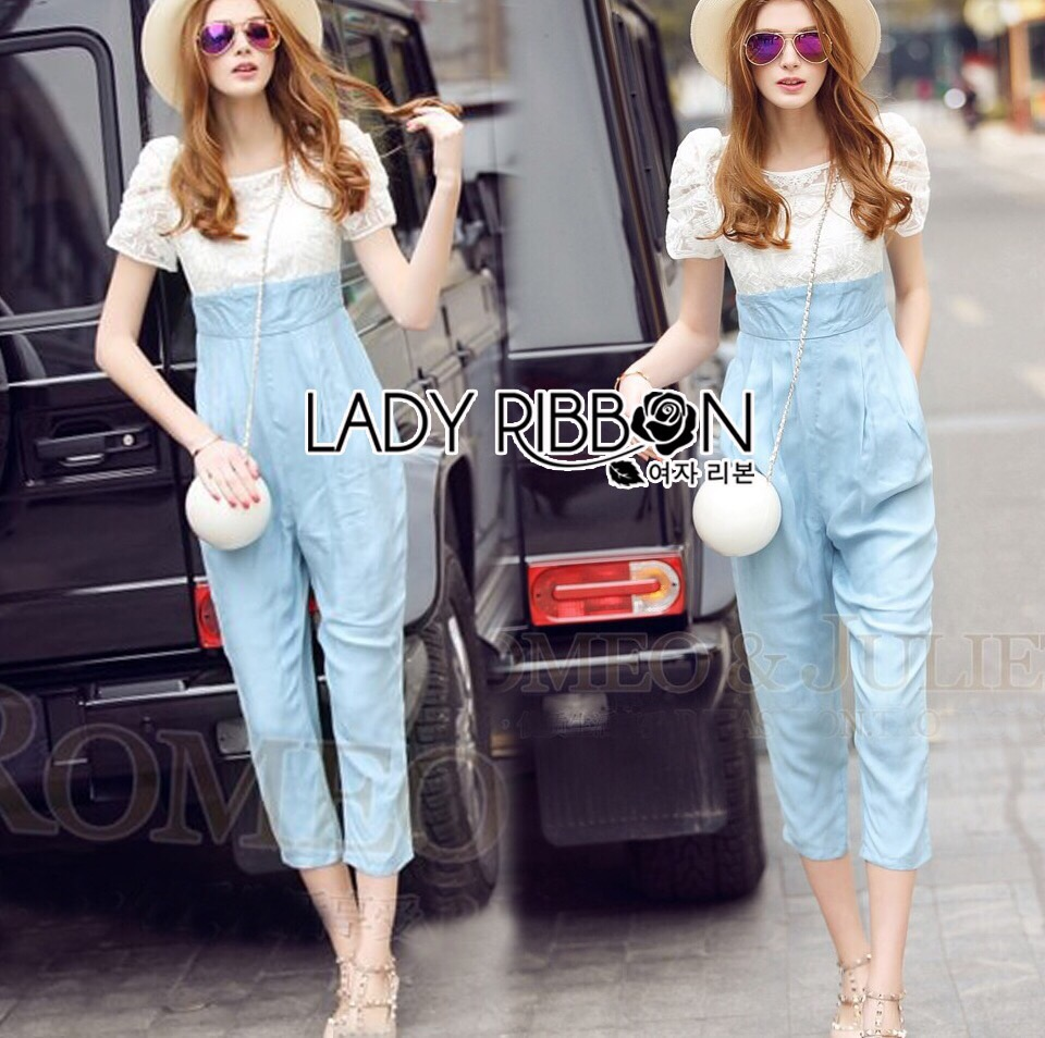 Lady Ribbon Korea dress LR06190516 &#x1F380 Lady Ribbon's Made &#x1F380 Lady Korea dress Sophie Smart Casual White Lace and Blue Jumpsuit